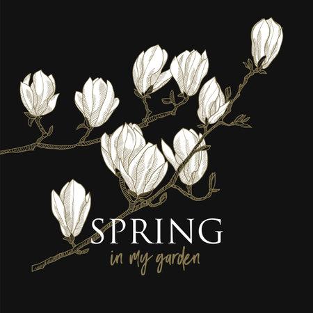 Blossom of magnolia flowers. Luxury spring floral vector graphic for card, header, wedding invitation, poster, social media, post publication. Ilustração