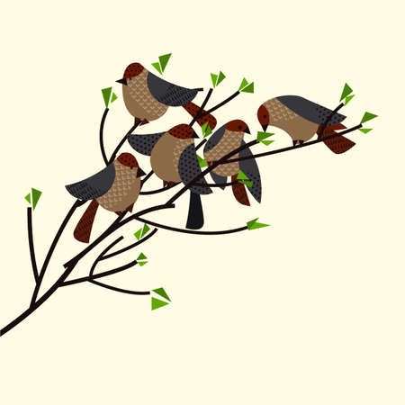 Funny decorative sparrow birds for card, header, invitation, poster, social media, post publication.
