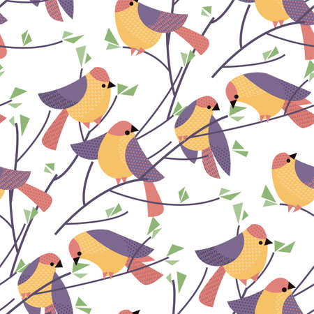 Colorful abstract birds seamless pattern for background, fabric, textile, wrap, surface, web and print design. Textile vector motif.