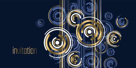 Elegant luxury abstract elements for for card, header, invitation, poster, social media, post publication. Blue and gold festive header. Vector illustration clipart.