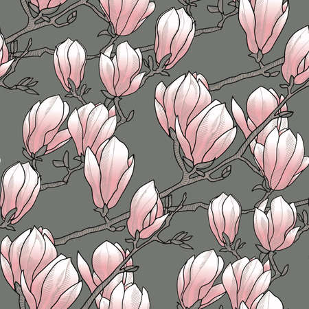 Magnolia spring blossom seamless pattern in rosy and gray colors. Floral elegant rapport for background, fabric, textile, wrap, surface, web and print design. Textile vector tile rapport