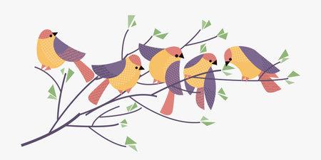 Pastel colors abstract spring birds for card, header, invitation, poster, social media, post publication. Ilustração