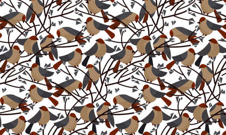 Funny decorative sparrow, birds seamless pattern for background, fabric, textile, wrap, surface, web and print design. Textile vector motif.