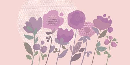Tender pastel color abstract flowers vector element for card, header, invitation, poster, social media, post publication. Rosy romantic mood decorative flowers. Ilustração