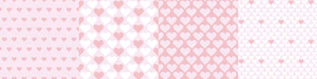 Pale rosy color simple hearts seamless pattern set for background, fabric, textile, wrap, surface, web and print design. Textile vector tile rapport