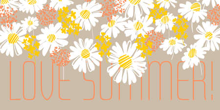 Shabby summer daisy flowers for card, header, invitation, poster, social media, post publication. Hand drawn blue chamomile floral pattern for summer projects.