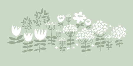 White meadow summer flowers silhouette pattern for card, invitation, wedding, banner, web and print design. Cute naive decorative floral element. Calico style vintage vibes flowers.