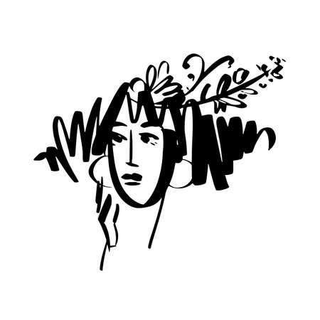 Woman face in brush stroke style for card, header, invitation, poster, social media, post publication. Stylish hand drawn black and white element for logo, identity, avatar, etc. Ilustração