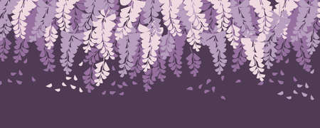 Purple wisteria blossom hanging. Romantic violet decorative flowers.  Vector element for card, header, invitation, poster, social media, post publication. Ilustração