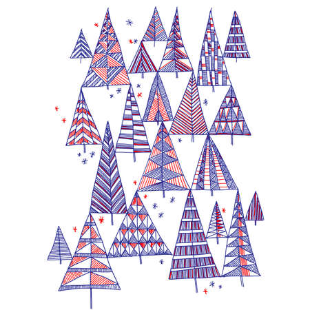 Funny Christmas trees hand drawn pattern for card, header, invitation, poster, social media, post publication. New Year and winter holiday concept vector forest. Ilustração