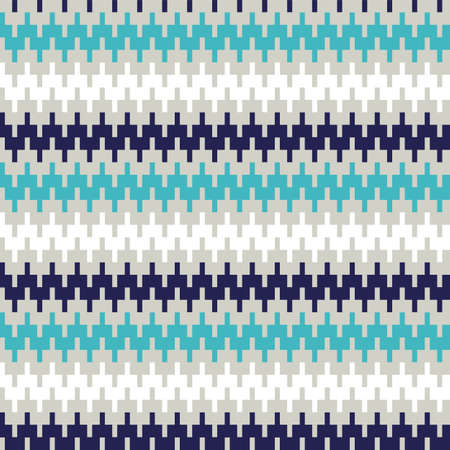 Blue and black zigzag stripes seamless pattern for fabric, textile, wrap, surface, web and print design. Geometric weaved pattern. vector background. Ilustração