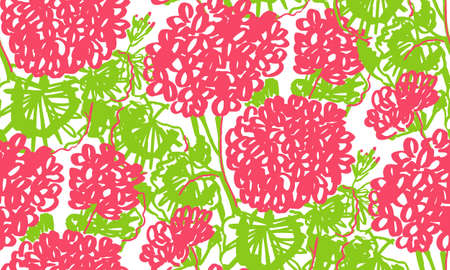 Decorative hand drawn geranium floral seamless pattern. Red and green vivid flowers rapport for background, fabric, textile, wrap, surface, web and print design. Hand drawn colorful flowers pattern. Ilustração