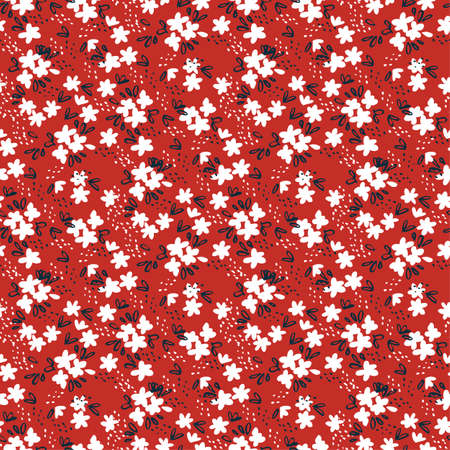 Cute white ditsy flowers on red seamless pattern. Repeating decorative floral vector pattern. Simple ditsy print for calico or shabby chic projects.