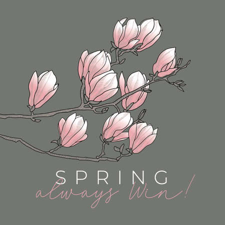 Spring rosy magnolia blossom branch in line art style for card, header, invitation, poster, social media, post publication.