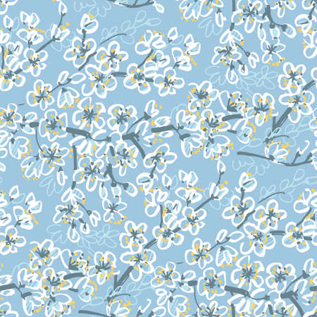 Spring sakura blossom seamless pattern for background, fabric, textile, wrap, surface, web and print design. Textile vector tile rapport, hand drawn flowers. Floral motif. Ilustração