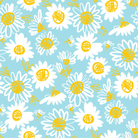 Daisy flower seamless pattern illustration. Vector floral background for textile, wrap, surface, web and print design. Simple naive white on blue floral motif.