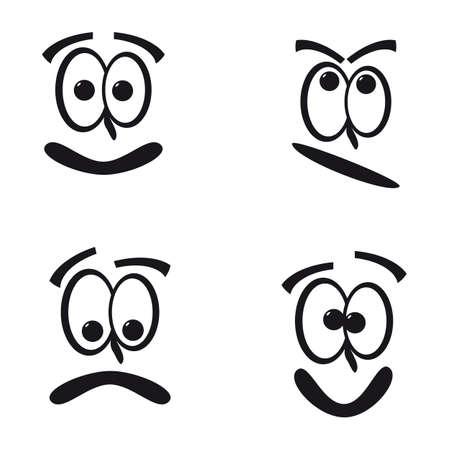 cara triste: Funny Faces Vectores
