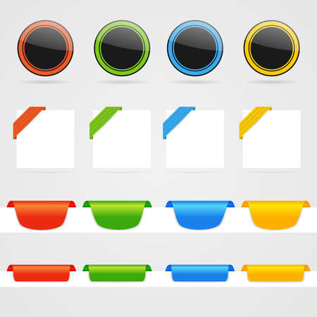 Set of clean color web decorative elements Stock Vector - 19680677