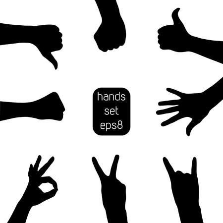 slap: Set of hand silhouettes  Illustration