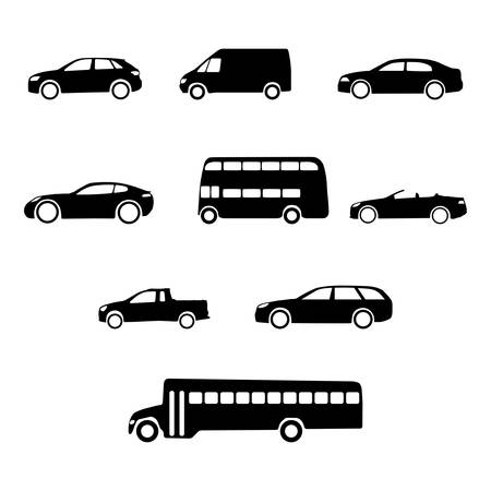 Set of clean vector vehicle silhouettes