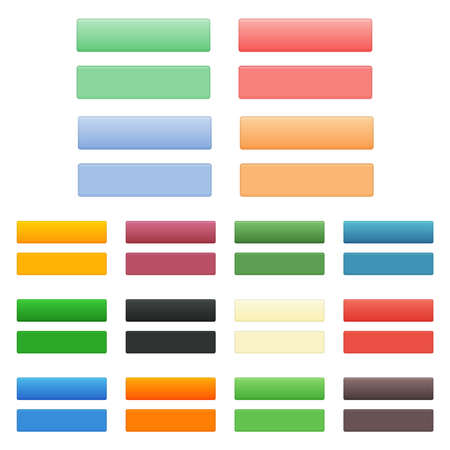 Set of clean color vector modern website empty isolated buttons