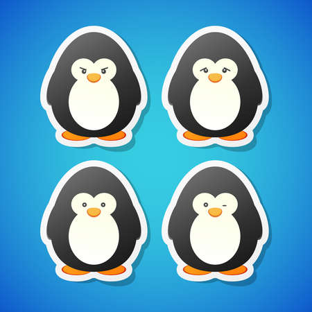 moods: Set of clean vector penguins stickers in different moods