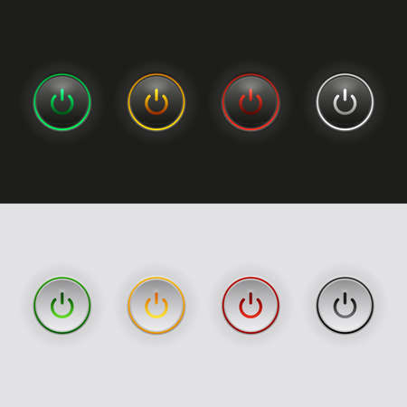 Set of clean vector color power buttons Vector