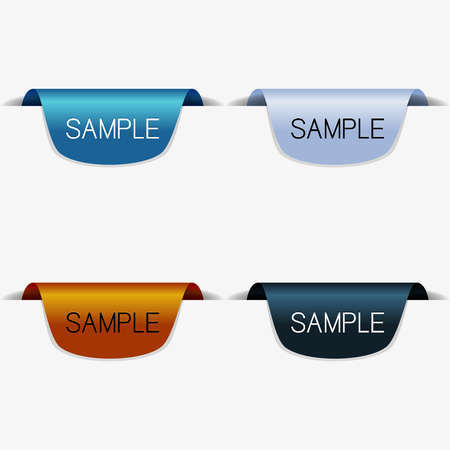 Set of retro color paper tags with text