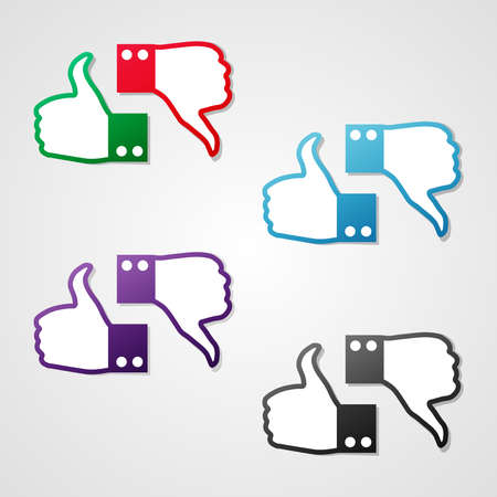 no gradient: Set of clean vector color thumbs up and down icons used on social networks Illustration