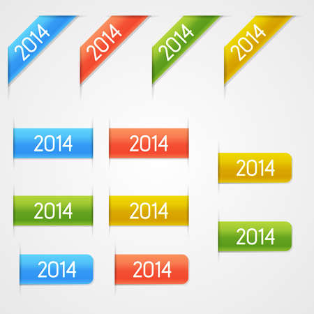Set of clean vector color year 2014 elements Illustration