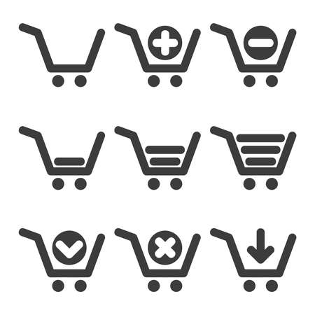 Set of clean vector shopping cart isolated icons Stock Vector - 23753829