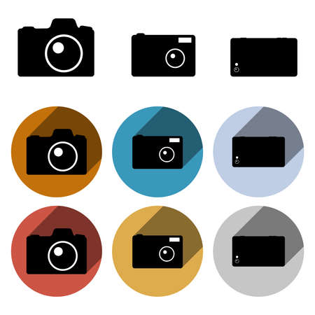 light reflex: Set of clean flat retro vector photo camera icons