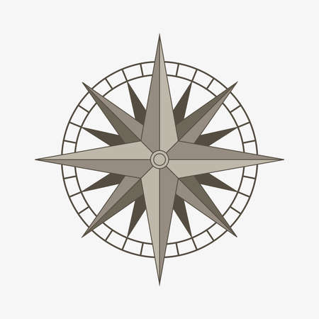 Clean brown retro vector wind or compass rose