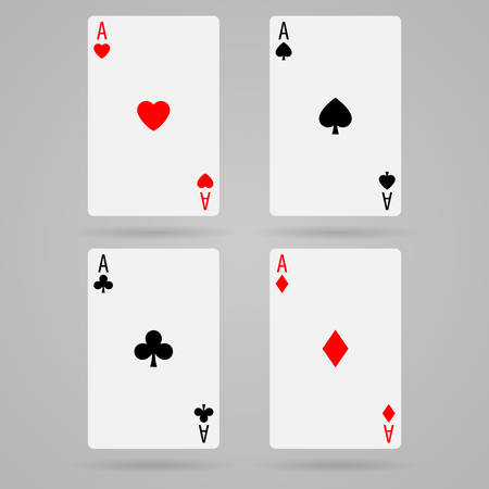 play of color: Set of vector ace playing cards