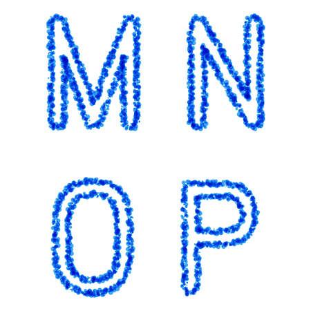 watter: Clean blue vector bubble alphabet, m, n, o, p