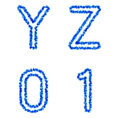 watter: Clean blue vector bubble alphabet, y, z, 0, 1