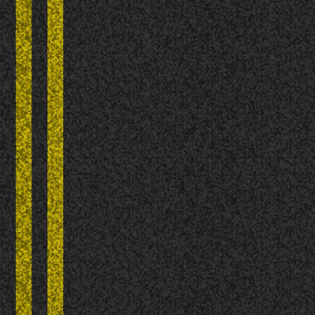 Vector ashpalt background texture with two yellow stripes