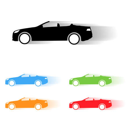 cabrio: Set of vector sport cabrio car moving silhouettes