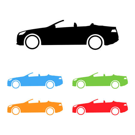 cabrio: Set of vector sport cabrio car silhouettes