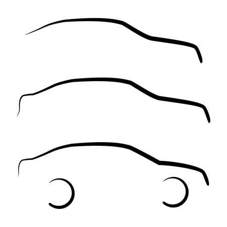 Conjunto de fondos de siluetas de esquema coche