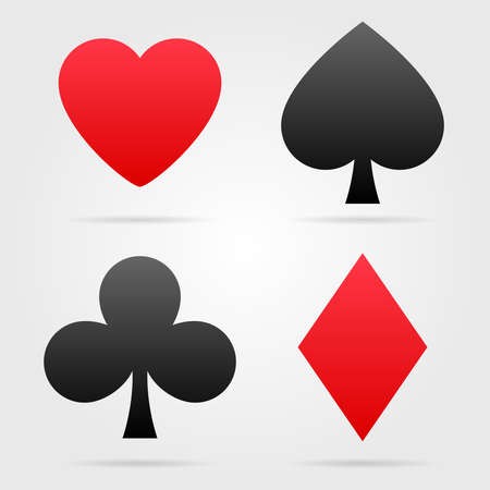 Set of vector playing card symbols with shadows