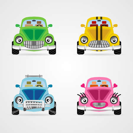 miror: Set of cute vector cartoon car illustrations in different moods and colors