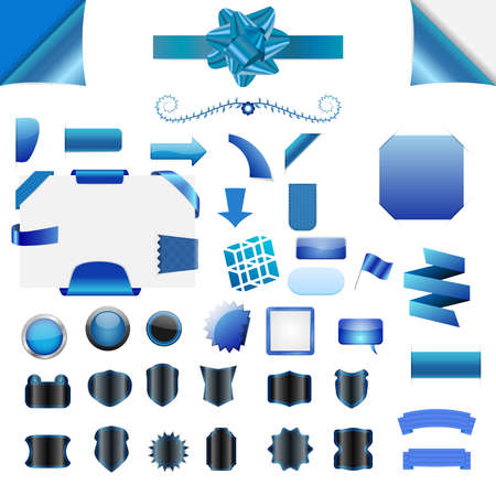 Set of clean blue vector blank isolated web elements, buttons, ribbons Vector