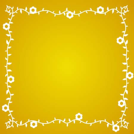 borde de flores: Vector de fondo amarillo con la frontera de la flor blanca