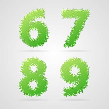 6 7: Clean green vector leaf alphabet, 6, 7, 8, 9