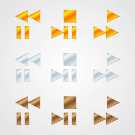 backwards: Set van schone metalen vector navigatie symbolen, pictogrammen en knoppen
