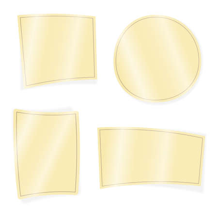 Clean vector set of yellow isolated papers