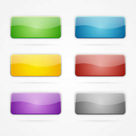 Set of clean vector color blank buttons with rounded corners