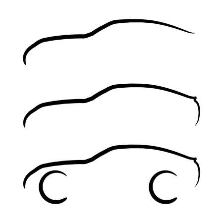 coupe: Set of vector sport coupe car stroke silhouettes