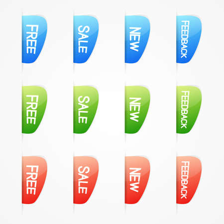 Set of clean color vector web elements with free, new, sale and feedback text
